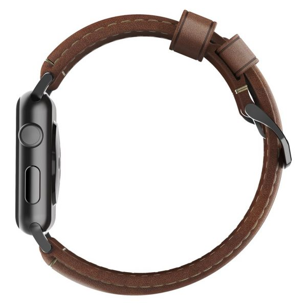 Leather Nomad Apple Watch strap – Traditional - Brown - Black