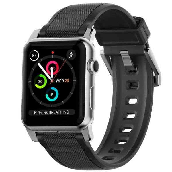 Nomad Apple Watch strap - Rugged - Black - Silver